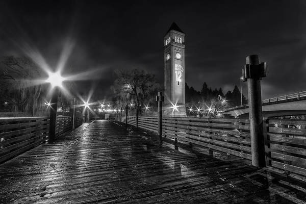 Clock Tower Photograph - Riverfront Park Clocktower Seahawks Black And White by Mark Kiver