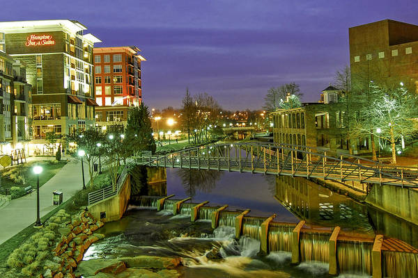 Liberty Bridge Photograph - Riverplace And Art Crossing At Sunset In Downtown Greenville Sc by Willie Harper