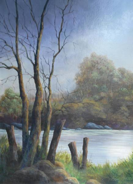 Fencepost Painting - Rivers Edge # 041 by Frederick  Skidmore