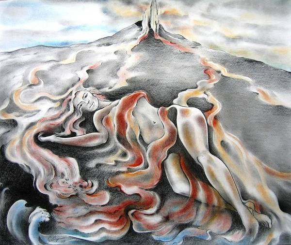 Lava Drawing - Rivers Of Fire by Jaya C Dupuis