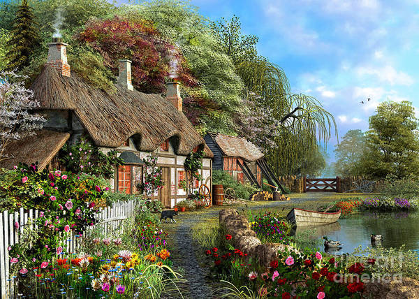 Victorian Garden Wall Art - Digital Art - Riverside Home In Bloom by MGL Meiklejohn Graphics Licensing