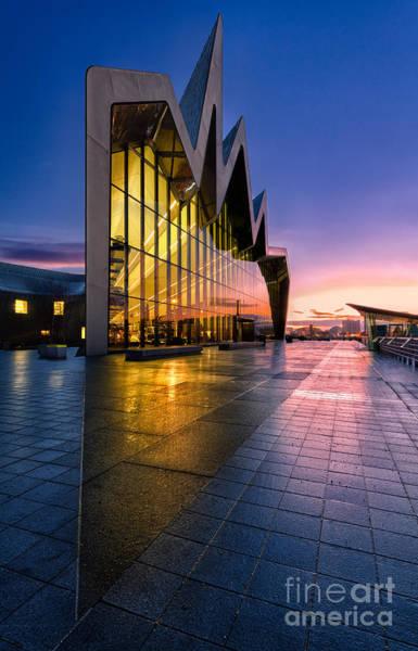 Riverside Photograph - Riverside Museum Glasgow Sunrising by John Farnan