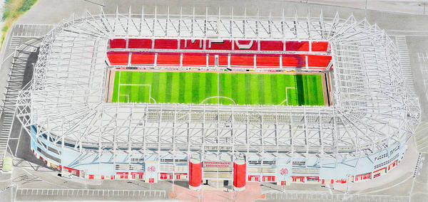 Wall Art - Painting - Riverside Stadia Art - Middlesbrough Fc by Brian Casey