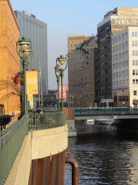 Photograph - Riverwalk Bowed Deck by Anita Burgermeister