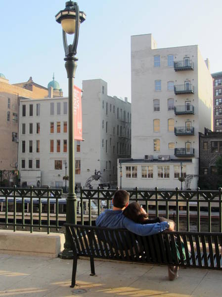 Photograph - Riverwalk Couple On Bench by Anita Burgermeister