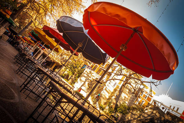 Photograph - Riverwalk Umbrellas by Melinda Ledsome