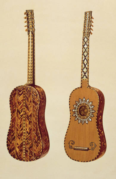 Spanish Guitar Wall Art - Painting - Rizzio Guitar, From Musical Instruments by Alfred James Hipkins