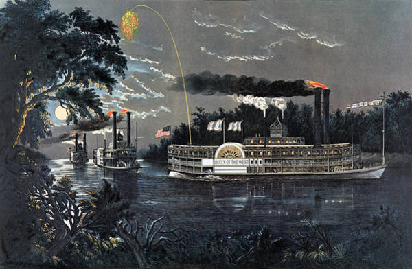 Steam Boat Photograph - Rl 27835 Rounding A Bend On The Mississippi Steamboat Queen Of The West Litho by N. Currier