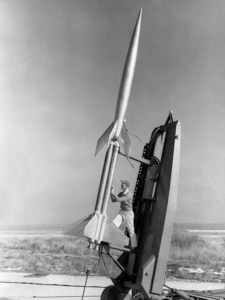 Center Stage Photograph - Rm-10 Research Rocket Launch by Nasa/goddard Space Flight Center