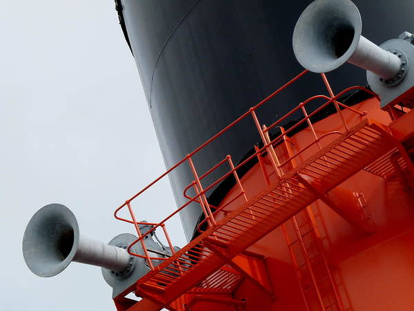 Photograph - Rms Queen Mary Horns by Jeff Lowe