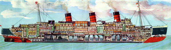 Steam Boat Photograph - Rms Queen Mary Ocean Liner by Cci Archives
