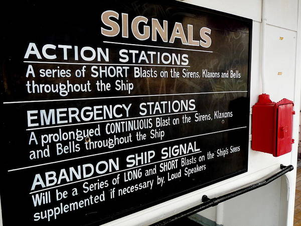 Photograph - Rms Queen Mary Signals Instructions by Jeff Lowe