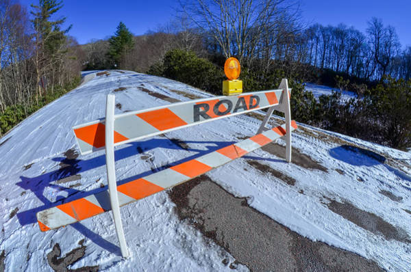Photograph - Road Block Set Up Before Snowy And Icy Road In Mountains by Alex Grichenko