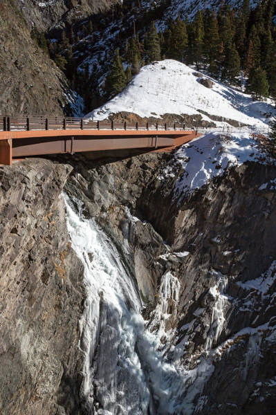 Wintry Photograph - Road Bridge Over A Mountain Gorge In Winter by Jim West/science Photo Library