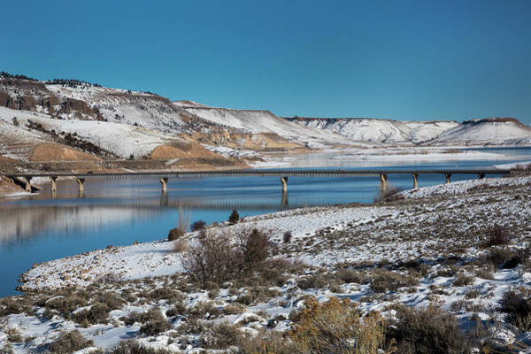 Wintry Photograph - Road Bridge Over A Reservoir In Winter by Jim West/science Photo Library