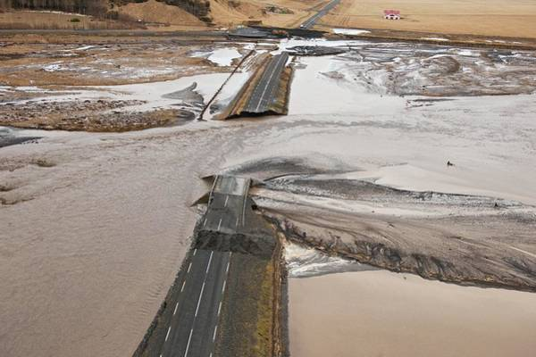 Wall Art - Photograph - Road Destroyed By Volcanic Flooding by John Beatty/science Photo Library
