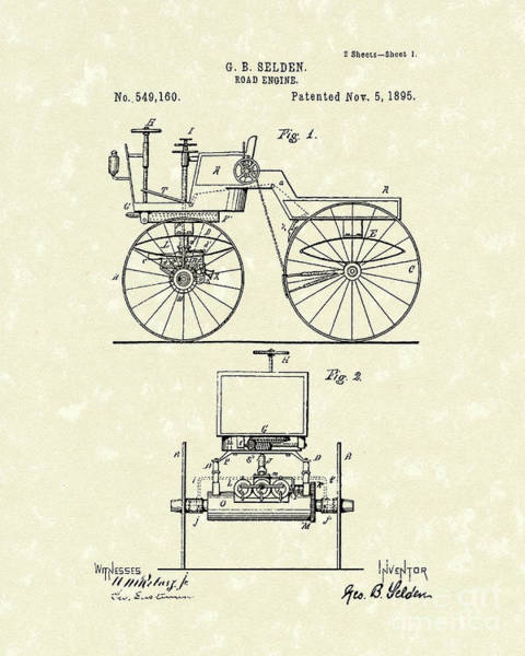 Drawing - Road Engine 1895 Patent Art by Prior Art Design