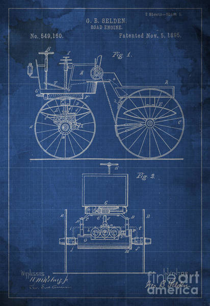 Patent Drawing - Road Engine Patent 1895 by Drawspots Illustrations