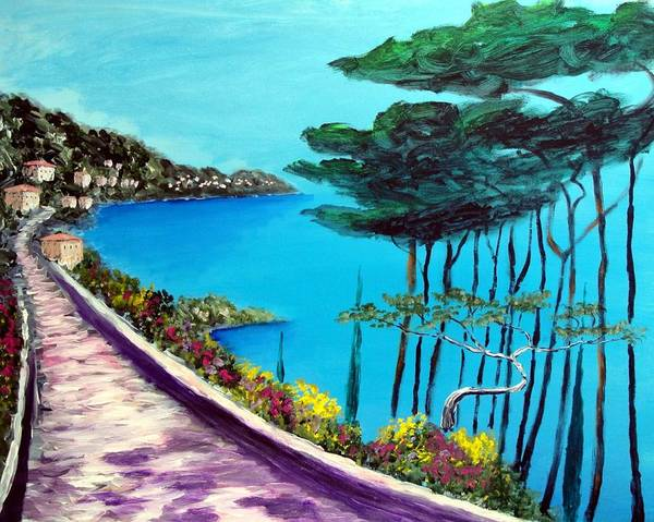 Camogli Painting - Road On The Riviera by Larry Cirigliano