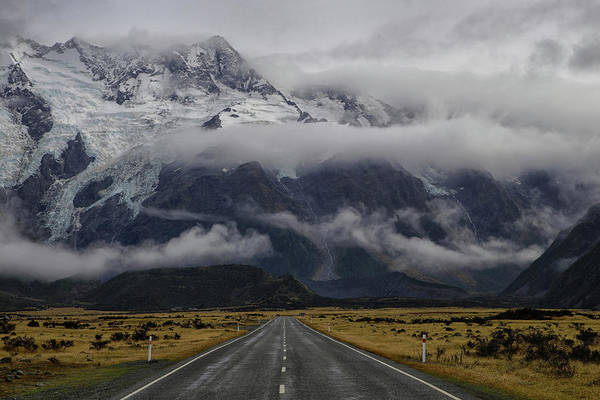 Mounted Photograph - Road To Mt Cook by Dragan Keca