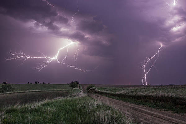 Gravel Road Photograph - Road To Nowhere - Lightning by Aaron J Groen