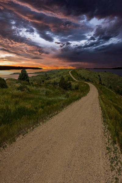 Gravel Road Photograph - Road To Nowhere - Stormy Little Bend by Aaron J Groen