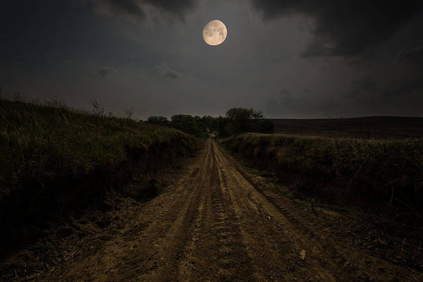 Wall Art - Photograph - Road To Nowhere - Waxing Gibbous Moon by Aaron J Groen