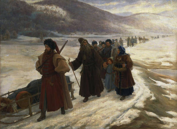Procession Photograph - Road To Siberia Oil On Canvas by Sergei Dmitrievich Miloradovich