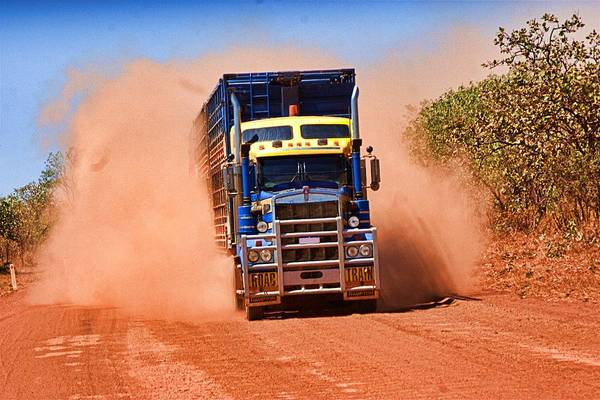 Photograph - Road Train On Dirt Road by David Rich
