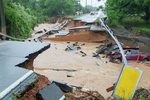 Car Wash Photograph - Road Washed Out By Flooding by Jim Edds