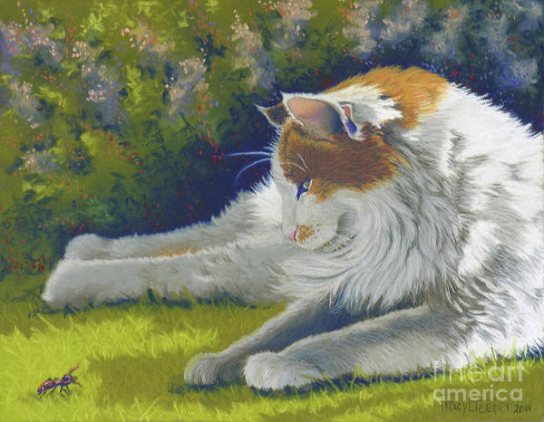 Calico Kitten Wall Art - Pastel - Roadblock - Cat And Bug by Tracy L Teeter