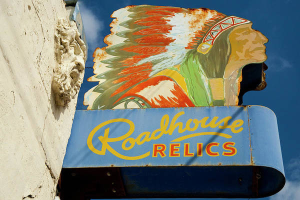 City Scape Photograph - Roadhouse Relics Sign by Mark Weaver