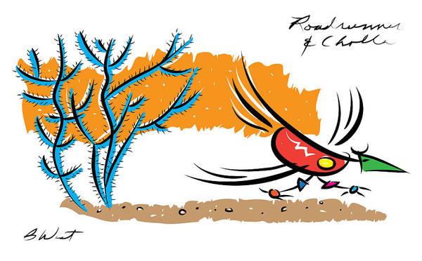 Petroglyphs Digital Art - Roadrunner And Cholla by William West