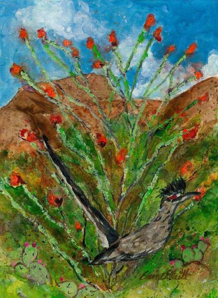 Roadrunner Painting - Roadrunner And Ocotillo by Elaine Elliott
