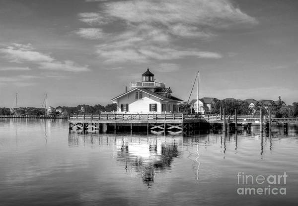 Photograph - Roanoke Marshes Light 3 Bw by Mel Steinhauer