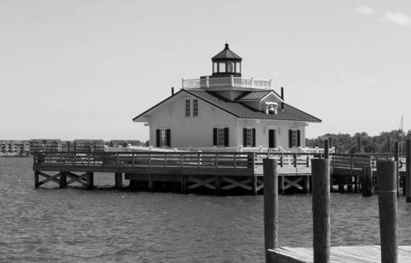 Screw Pile Wall Art - Photograph - Roanoke Marshes Light Black And White by Cathy Lindsey