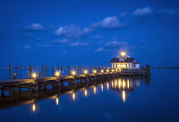 Marsh Photograph - Roanoke Marshes Lighthouse Manteo Nc - Blue Hour Reflections by Dave Allen