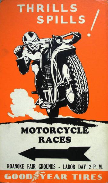 Roanoke Wall Art - Digital Art - Roanoke Vintage Motorcycle Racing Poster by Georgia Fowler