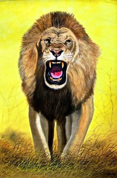 Painting - Roar by Wycliffe Ndwiga