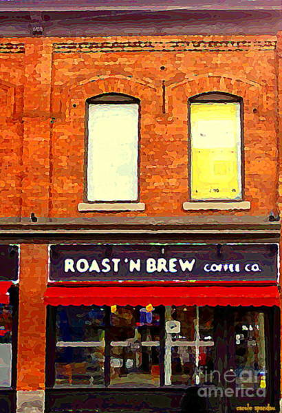 Painting - Roast N Brew Coffee Shop Restaurant The Glebe Storefronts Old Ottawa South Paintings C Spandau  by Carole Spandau