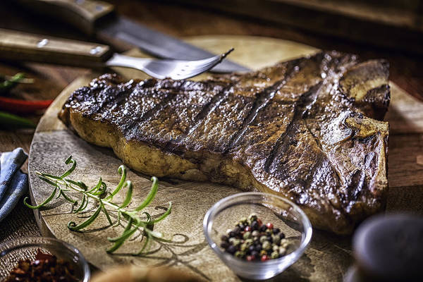 Roasted Bbq T-bone Steak Art Print by GMVozd