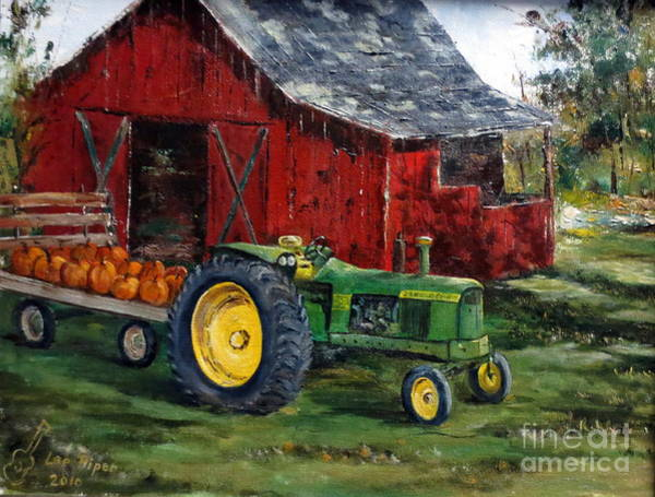 Red Wagon Painting - Rob Smith's Tractor by Lee Piper