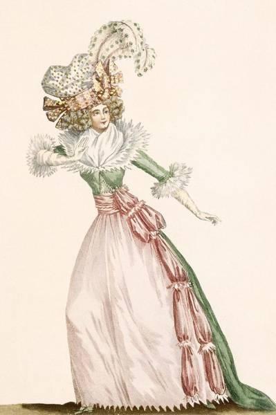 Fashion Drawing - Robe De La Czarine, Plate From Galeries by Jean Florent Defraine