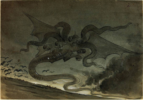 Wall Art - Drawing - Robert Caney, British 1847-1911, Flying Monster by Litz Collection