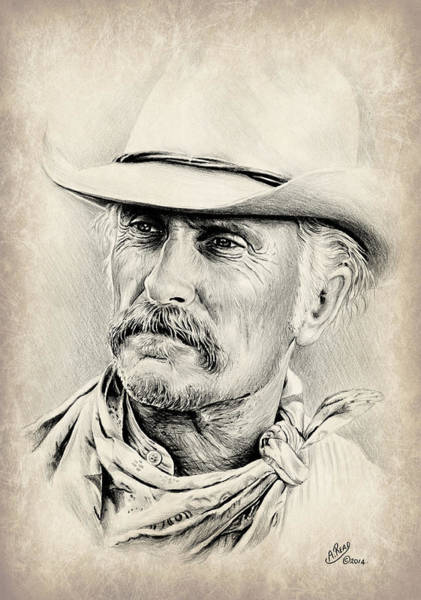 Old West Drawing - Robert Duvall Sepia Scratch by Andrew Read