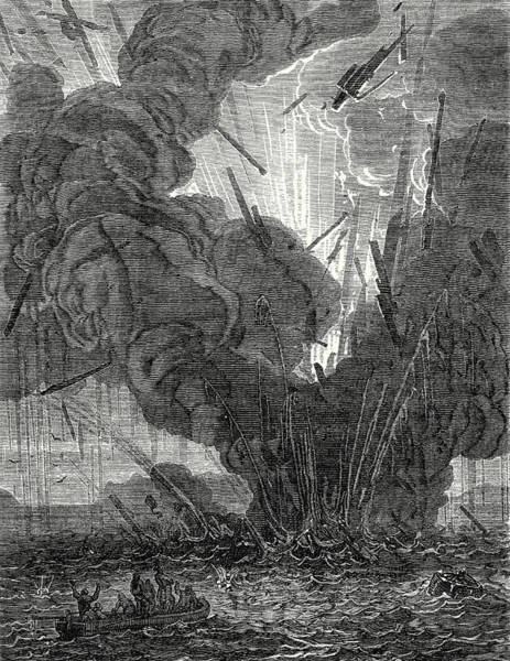 Wall Art - Drawing - Robert Fulton Blows Up A Boat With His Infernal Machine by English School
