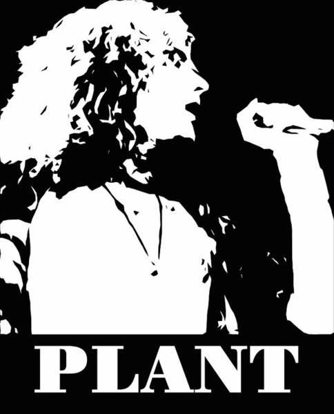 Famous People Digital Art - Robert Plant Black And White Pop Art by David G Paul
