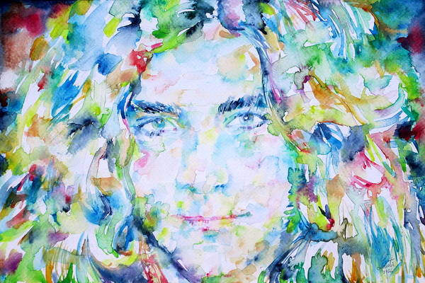 Frontman Wall Art - Painting - Robert Plant - Watercolor Portrait by Fabrizio Cassetta