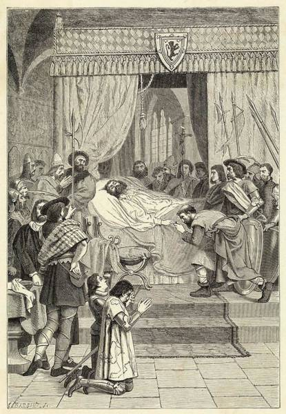 Wall Art - Drawing - Robert The Bruce Lies On His  Deathbed by Mary Evans Picture Library