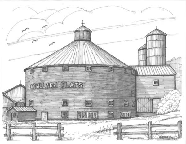 Drawing - Robillard Flats Round Barn by Richard Wambach